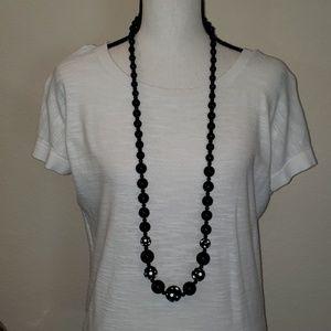 Macy's black beaded necklace w/white polka dots